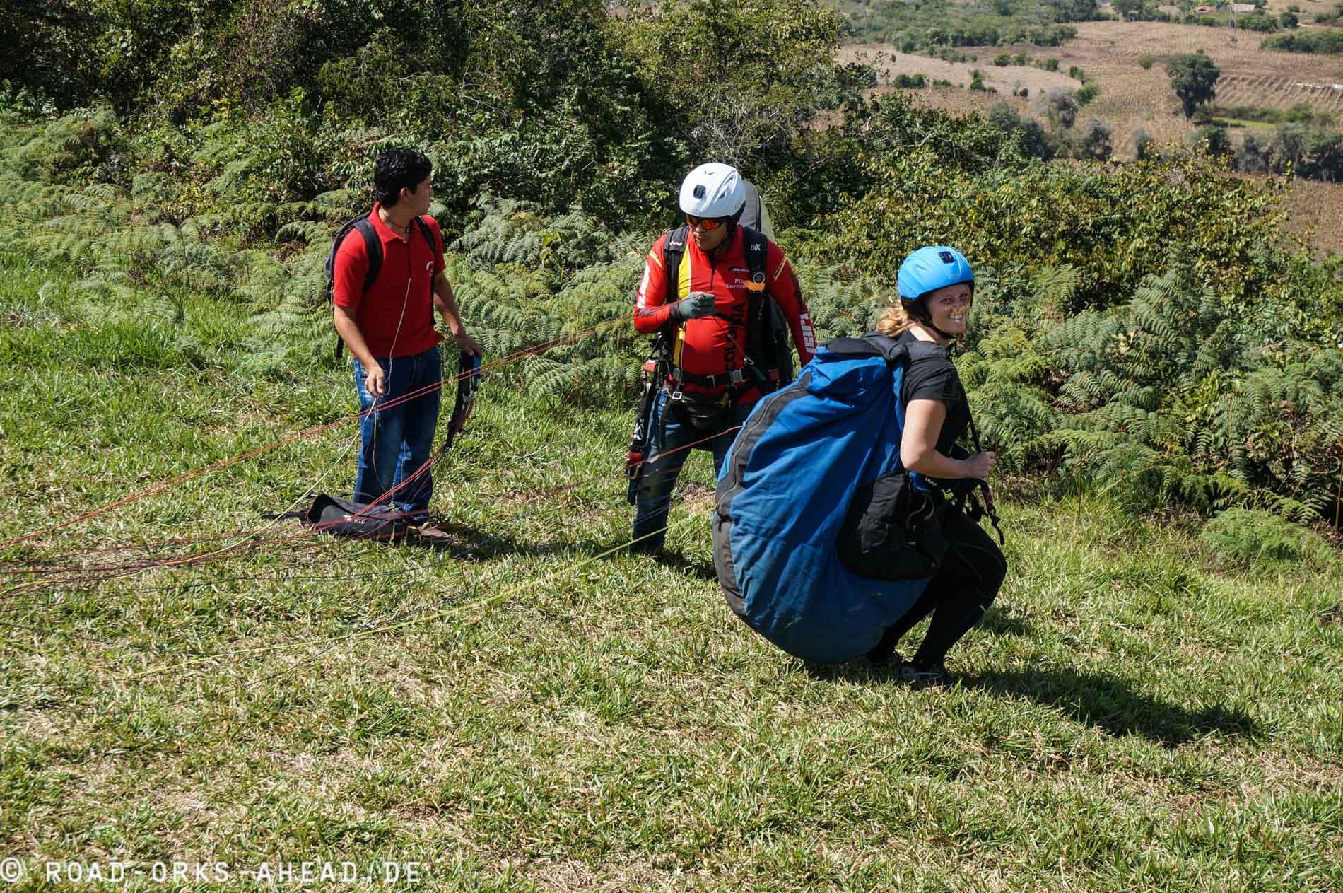 Paragliding mit nem Riesensack...