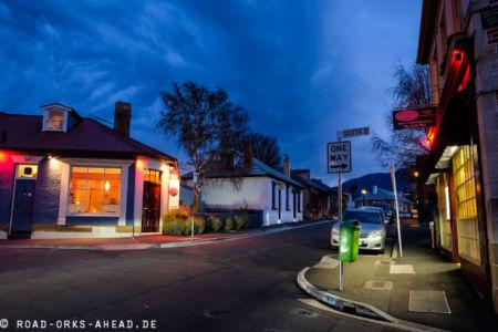 Hobarts beschauliche Straßen bei Nacht
